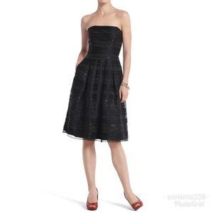 WHBM Black Silk Chiffon Midi Dress sz 4
